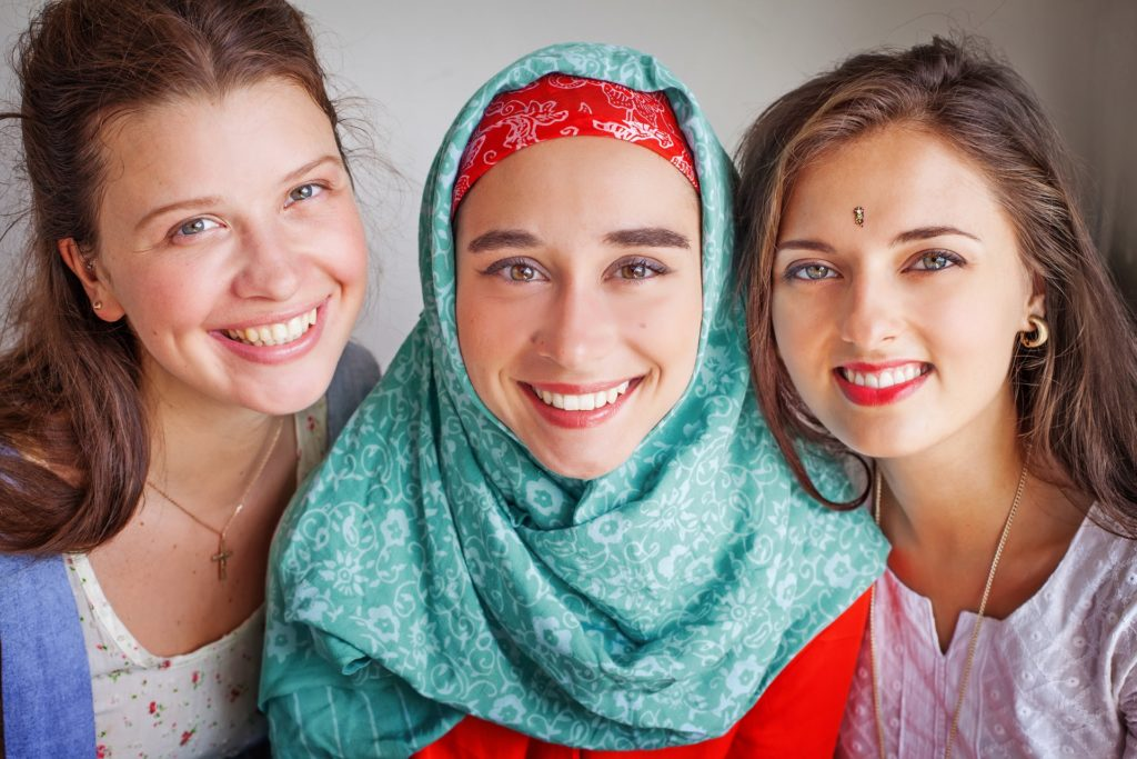 group of multicultural women of different religions