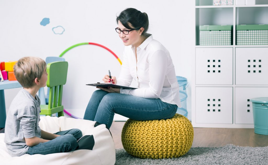 child talks to counsellor